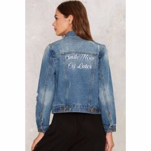 Smile Now Cry Later Denim Jacket